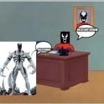 Spiderman Computer Desk Meme | HELLO ANTI VENOM HELLO VENOM | image tagged in memes,spiderman computer desk,spiderman | made w/ Imgflip meme maker
