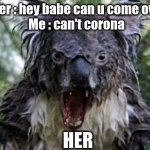 when your girl wants you over | Her : hey babe can u come over Me : can't corona HER | image tagged in memes,angry koala | made w/ Imgflip meme maker