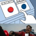 The large disappointment. | THE BIG SAD. THE GREAT DEPRESSION. ME | image tagged in robotnik pressing red button,memes,history,big sad,funny | made w/ Imgflip meme maker