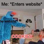Cursed Cookie Monster | Me: *Enters website* The website COOKIES | image tagged in cursed cookie monster | made w/ Imgflip meme maker