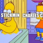 THIS IS THE GREATEST PLANNNNNNNN!!!! | HENRY STICKMIN CHARLES CALVIN HIS HELICOPTER | image tagged in bart hitting homer with a chair,henry stickmin | made w/ Imgflip meme maker