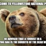 Smug Bear Meme | WELCOME TO YELLOWSTONE NATIONAL PARK; BE ADVISED THAT A TOURIST IN A SLEEPING BAG IS THE BURRITO OF THE BEAR WORLD | image tagged in memes,smug bear | made w/ Imgflip meme maker