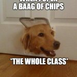 Dog door | WHEN I OPEN A BAAG OF CHIPS *THE WHOLE CLASS* | image tagged in dog door | made w/ Imgflip meme maker