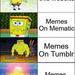 Using Memes On Stuff Rather Than ImgFlip | Memes On this website Memes On MSpaint Memes On Mematic Memes On Tumblr | image tagged in increasingly buff spongebob,dank memes,funny | made w/ Imgflip meme maker