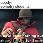 the most truest of all my true stories | nobody: geometry students: talk about triangles months | image tagged in i have done nothing but teleport bread for 3 days | made w/ Imgflip meme maker