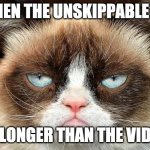 youtube: I was a business man... doing business. | WHEN THE UNSKIPPABLE AD IS LONGER THAN THE VIDEO | image tagged in memes,grumpy cat not amused,grumpy cat | made w/ Imgflip meme maker