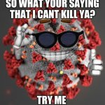 Coronavirus | SO WHAT YOUR SAYING THAT I CANT KILL YA? TRY ME | image tagged in coronavirus | made w/ Imgflip meme maker