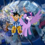 Kid Goku and Twilight Sparkle Team Up (Action Heroes) meme