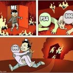 You Can Only Save one From Fire | ME PS4 DOG DOG ME | image tagged in you can only save one from fire | made w/ Imgflip meme maker