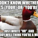 "Malicious Advice Mallard Meme | DON'T KNOW WHETHER IT'S ""YOUR"" OR ""YOU'RE""? JUST WRITE ""UR"", AND NOBODY WILL THINK YOU'RE A MORON 