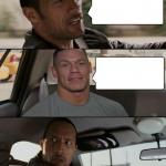 The Rock Driving (John Cena version) meme