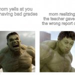 Grades are pretty wasteful. I mean they don't even have a physical embodiment other than diploma. | mom yells at you for having bad grades mom realizing the teacher gave ou the wrong report card | image tagged in hulk angry then realizes he's wrong,memes,funny | made w/ Imgflip meme maker