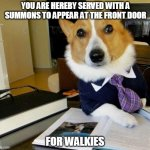 You Have Been Served | YOU ARE HEREBY SERVED WITH A SUMMONS TO APPEAR AT THE FRONT DOOR FOR WALKIES | image tagged in lawyer corgi dog,lawyer dog,dog,lawyer,lol,cute | made w/ Imgflip meme maker