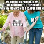quick, quick, QUICK | ME TRYING TO PERSUADE MY LITTLE BROTHER TO STOP CRYING WHEN MY MOM COMES BECAUSE I HIT HIM LITTLE BROTHER ME | image tagged in memes | made w/ Imgflip meme maker