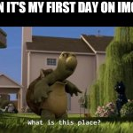 i'm for real | WHEN IT'S MY FIRST DAY ON IMGFLIP | image tagged in what is this place | made w/ Imgflip meme maker