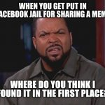 Facebook Jail | WHEN YOU GET PUT IN FACEBOOK JAIL FOR SHARING A MEME WHERE DO YOU THINK I FOUND IT IN THE FIRST PLACE? | image tagged in really ice cube | made w/ Imgflip meme maker