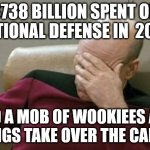 Capitol Protest | $738 BILLION SPENT ON NATIONAL DEFENSE IN  2020 AND A MOB OF WOOKIEES AND VIKINGS TAKE OVER THE CAPITOL | image tagged in memes,captain picard facepalm | made w/ Imgflip meme maker