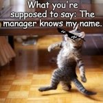 Karenssssss | Karen: I'LL REPORT YOU TO THE MANAGER! What you're supposed to say: The manager knows my name. | image tagged in memes,cool cat stroll | made w/ Imgflip meme maker
