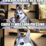Bad Pun Dog | WHY DID THE CAN CRUSHER QUIT HIS JOB CAUSE IT WAS SODA PRESSING | image tagged in memes,bad pun dog | made w/ Imgflip meme maker