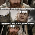 Saw this one on reddit recently | NEVER THOUGHT I WOULD HUNT SIDE BY SIDE WITH A HUMAN WHAT ABOUT SIDE BY SIDE WITH A FRIEND? AYE, I COULD DO THAT WOLF HUMAN DOG | image tagged in aye i could do that blank | made w/ Imgflip meme maker