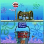 kum | Yeah Yeah | image tagged in memes,krusty krab vs chum bucket | made w/ Imgflip meme maker