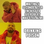 Drake Blank | WAITING 5 SECONDS AFTER THE KISS TO SEE IF JULIET WAS STILL ALIVE DRINKING POISON | image tagged in drake blank | made w/ Imgflip meme maker