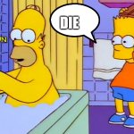 bart hitting homer with a chair | THE TOMPISONS KILL HOMER AND RUN DIE | image tagged in bart hitting homer with a chair | made w/ Imgflip meme maker