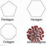 poopy | school begone | image tagged in memes,pentagon hexagon octagon,funny,coronavirus | made w/ Imgflip meme maker