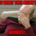 Red Alert Noob's... | YOU WHAT THIS MEME'S!... NOOBIES!... | image tagged in memes,captain picard facepalm | made w/ Imgflip meme maker