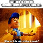 so true | TWITTER CANCELING SOMEONE BECAUSE THEY BREATHE: | image tagged in why do i fix everything i touch | made w/ Imgflip meme maker