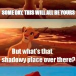 Simba Shadowy Place | SOME DAY, THIS WILL ALL BE YOURS THAT IS TIK TOK, YOU MUST NEVER GO THERE | image tagged in memes,simba shadowy place | made w/ Imgflip meme maker