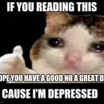 pls | IF YOU READING THIS HOPE YOU HAVE A GOOD NO A GREAT DAY CAUSE I'M DEPRESSED | image tagged in sad cat thumbs up | made w/ Imgflip meme maker