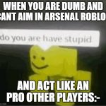 do you really are have stupid | WHEN YOU ARE DUMB AND CANT AIM IN ARSENAL ROBLOX AND ACT LIKE AN PRO OTHER PLAYERS:- | image tagged in do you are have stupid | made w/ Imgflip meme maker