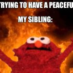 Me and my sibling | ME:  TRYING TO HAVE A PEACEFUL DAY MY SIBLING: | image tagged in elmo fire | made w/ Imgflip meme maker
