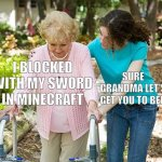 Sure grandma let's get you to bed | I BLOCKED WITH MY SWORD IN MINECRAFT SURE GRANDMA LET'S GET YOU TO BED | image tagged in oh wow are you actually reading these tags | made w/ Imgflip meme maker