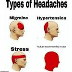 Types of Headaches meme | Youtube recommended section | image tagged in types of headaches meme | made w/ Imgflip meme maker