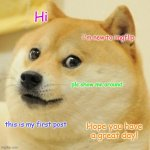 My first meme | Hi i'm new to imgflip pls show me around this is my first post Hope you have a great day! | image tagged in memes,doge,first meme | made w/ Imgflip meme maker