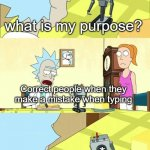 . | * what is my purpose? Correct people when they make a mistake when typing * | image tagged in what's my purpose - butter robot,hehehe | made w/ Imgflip meme maker