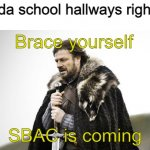 pain | Nevada school hallways right now SBAC is coming Brace yourself | image tagged in winter is coming,memes,testing,sucks | made w/ Imgflip meme maker