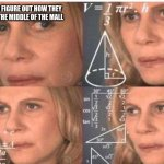Math lady/Confused lady | ME TRYING TO FIGURE OUT HOW THEY GOT A CAR IN THE MIDDLE OF THE MALL | image tagged in math lady/confused lady | made w/ Imgflip meme maker
