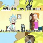 What's My Purpose - Butter Robot | What is my purpose Be annoying and call their manager I am calling your manager | image tagged in what's my purpose - butter robot | made w/ Imgflip meme maker