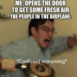 oh no.... | ME: OPENS THE DOOR TO GET SOME FRESH AIR THE PEOPLE IN THE AIRPLANE: | image tagged in filthy frank confused scream | made w/ Imgflip meme maker