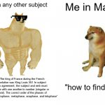 "I suck at math but in other subjects I'm smort | Me in any other subject Me in Math ""The king of France during the French revolution was King Louis XVI. In subject verb agreement, the subje 
