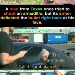 Call an ambulance but not for me | The armadillo The armadillo | image tagged in call an ambulance but not for me | made w/ Imgflip meme maker