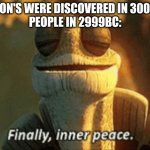 Finally, inner peace. | PIGEON'S WERE DISCOVERED IN 3000BC. PEOPLE IN 2999BC: | image tagged in finally inner peace | made w/ Imgflip meme maker