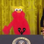President Elmo Says: | image tagged in gifs,elmo,president,oh wow are you actually reading these tags | made w/ Imgflip video-to-gif maker