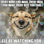 I'm Hungry.... | EVERY MOVE YOU MAKE. EVERY MEAL YOU MAKE. EVERY BITE YOU TAKE. I'LL BE WATCHING YOU. | image tagged in memes,stoner dog | made w/ Imgflip meme maker