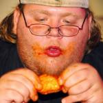 fat guy eating wings meme