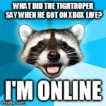 raccoon | WHAT DID THE TIGHTROPER SAY WHEN HE GOT ON XBOX LIVE? I'M ONLINE | image tagged in raccoon | made w/ Imgflip meme maker