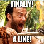 Castaway Fire Meme | FINALLY! A LIKE! | image tagged in memes,castaway fire | made w/ Imgflip meme maker